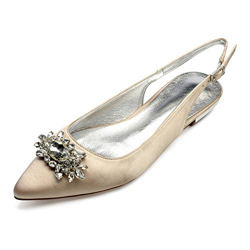 Women's Casual Pointed Toe Ballet Pumps Slip on Ballerina Flats Shoes,champagne,36