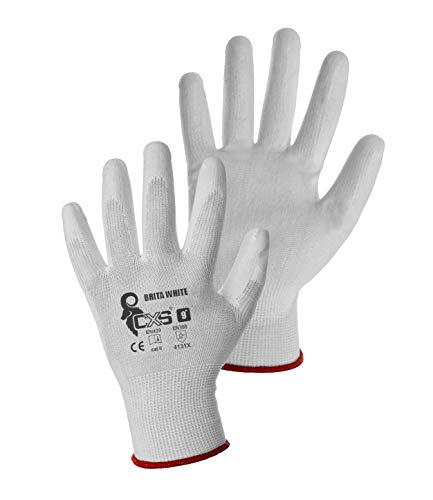 CXS Brita Arbeitshandschuhe (12 Paar) - Rutschfeste Montagehandschuhe Nahtlos - Angenehmer, Ideal für Reparaturen, Feinarbeiten, Automobilindustrie, Autoservice, Werkstatt (Weiß, 9)