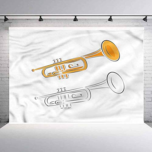 8x8FT Vinyl Wall Photography Backdrop,Trumpet,Jazz Blues Soul Music Brass Background for Baby Shower Bridal Wedding Studio Photography Pictures