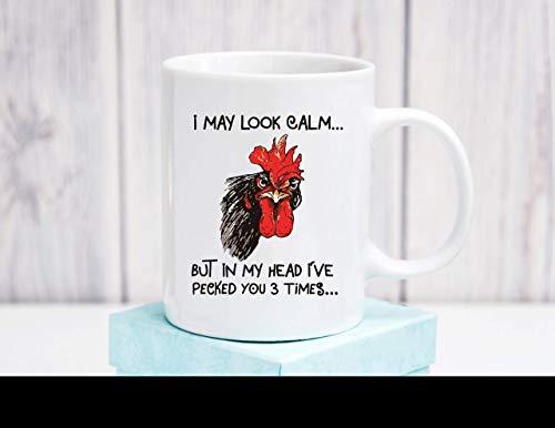 N\A Taza Personalizada Puedo parecer Tranquilo Pero en mi Cabeza I39; te picoteé 3 Veces Taza de café de cerámica Taza de café de Regalo de Gallo Divertido 11 oz Nana Gigi Granddaddy Baby
