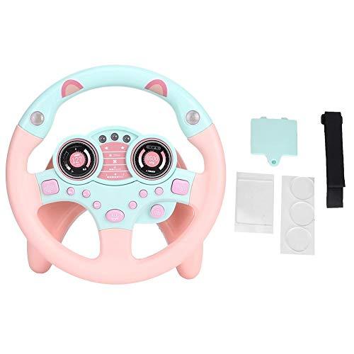 Akozon Volante simulado Rosa copiloto Educativo Simulación de conducción Juguete Educativo Niños Regalo para niños con Ventosa(Rosado)