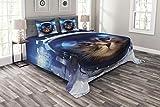 ABAKUHAUS Gato Espacial Cubrecama, Felline Astronauta, Set Decorativo de 3 Piezas Acolchado con 2 Fundas para Almohada, 220 x 220 cm, Multicolor