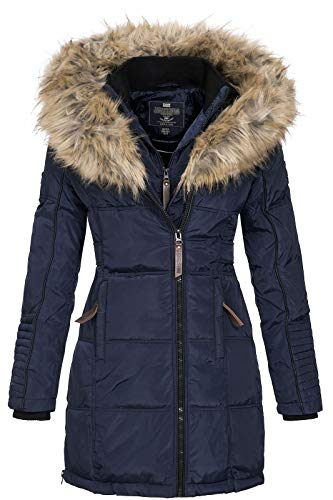 Geographical Norway Damen Jacke Winterparka Belissima XL-Fellkapuze Navy L