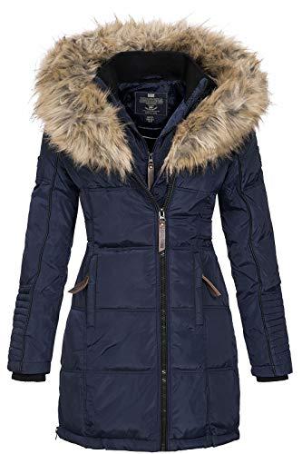 Geographical Norway BEAUTIFUL LADY - Parka cálida mujer - Abrigo grueso capucha de piel falsa - Chaqueta de invierno - Chaqueta larga con forro cálido - Regalo para mujer Moda casual (Azul marino XXL)