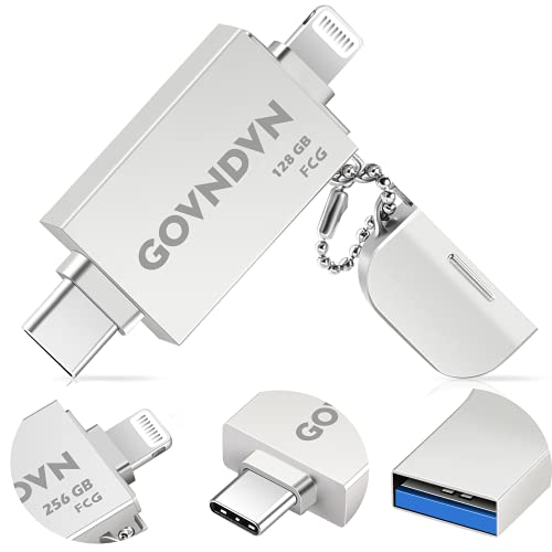 GOVNDVN 3 in 1 iPhone-Photo-Stick, Apple MFi Certified USB 3.0 Flash-Drive, 128GB Photo-Stick-for-iPhone,Memory-Stick Photo Stick iPhone Backup Memory Stick for iPhone, iPad, Type-C Phone,PC (Silver)