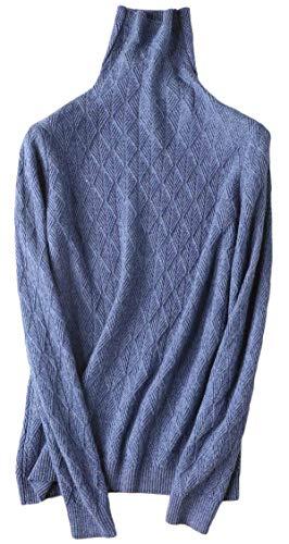 Liny Xin Damen Merinowolle Winterpullover Vintage Sweater Soft Warm Lightweight Rollkragenpullover (XL, Star Blue)