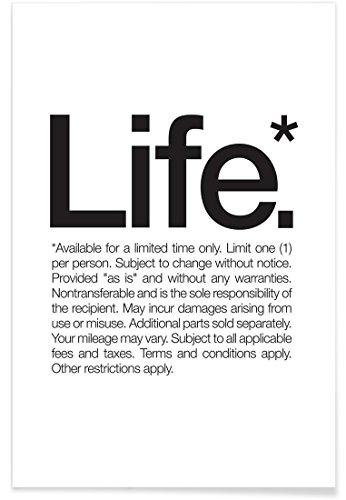 """JUNIQE® Poster 40x60cm Schwarz & Weiß Zitate & Slogans - Design """"Life* (Black)"""" (Format: Hoch) - Bilder, Kunstdrucke & Prints von unabhängigen Künstlern - Typo Kunst mit Sprüchen, Quotes, Slogans - entworfen von WORDS BRAND™"""