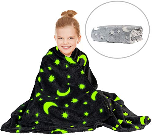 Glow in The Dark Throw Blanket for Kids - Fun, Cozy Fleece Throw Blanket Made from Plush Polyester  ...