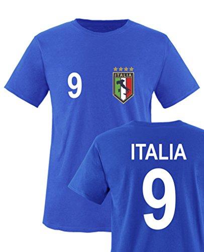 Comedy Shirts - WM 2014 - Italien - Nr. 9 - Kinder T-Shirt - Royalblau Gr. 98-104