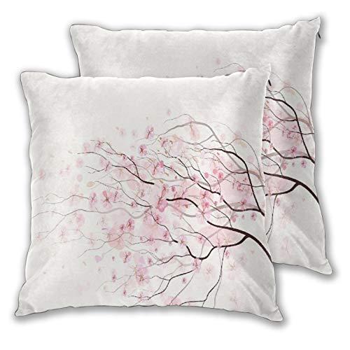 PATINISA 2pcs Fundas de Cojín,Rama de Sakura artístico Rosa pálido con Flores de Cerezo tierna Primavera Japonesa,Cuadrado Suave Funda de Almohada Decorativa Sofá Sillas Cama para Hogar,45x45cm