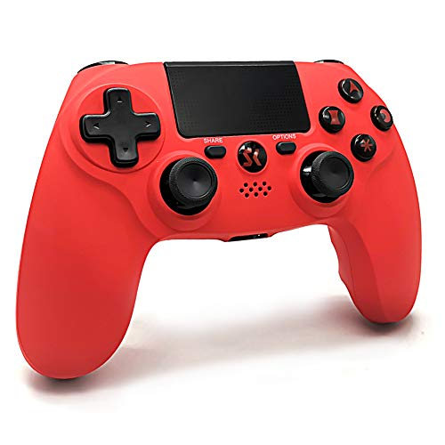 PS4 Controller Wireless Bluetooth, PS4 Gamepad Controller mit Dual Vibration Shock SIX-AXIS Touchpad 3,5mm Headset Ausgang für Playstation 4 / PS4 Pro/ PS3/ PC (Rot)