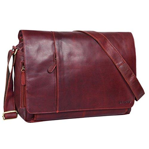 STILORD Vintage Umhängetasche Leder groß für Herren Damen 15.6 Zoll Laptoptasche Unitasche Bürotasche Moderne Aktentasche aus echtem Büffelleder, Farbe:Rosso