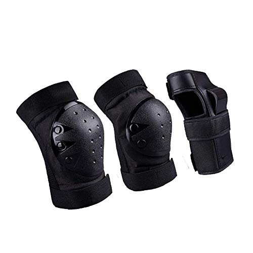 QiSa Adult/Child Knee Pads Elbow Pads Wrist Guards 3 in 1 Protective Gear Set for Skateboarding, Roller Skating, Rollerblading, Snowboarding, Cycling (BLACK, Large(110-155lb))