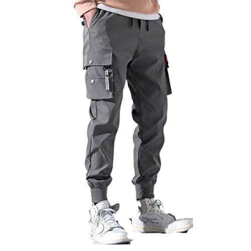 N/ A Mens Combat Cargo Combat Builders Warehouse Workwear Pantalón Sport Casual Cordón elástico Cintura Slim Fit Pantalones