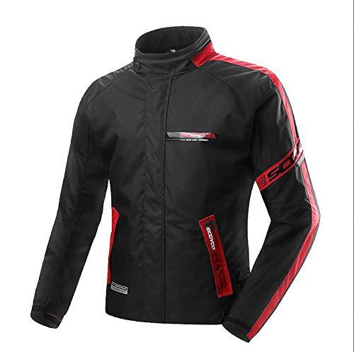 Moto Vestes Hommes Imperméable Garder Au Chaud Réfléchissant Moto Veste Femmes Confortable Veste Respirante avec Équipement De Protection,Red-L