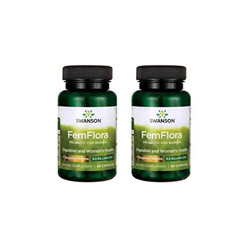 Swanson Femflora Probiotic for Women 9.8 Billion Cfu 60 Caps 2 Pack