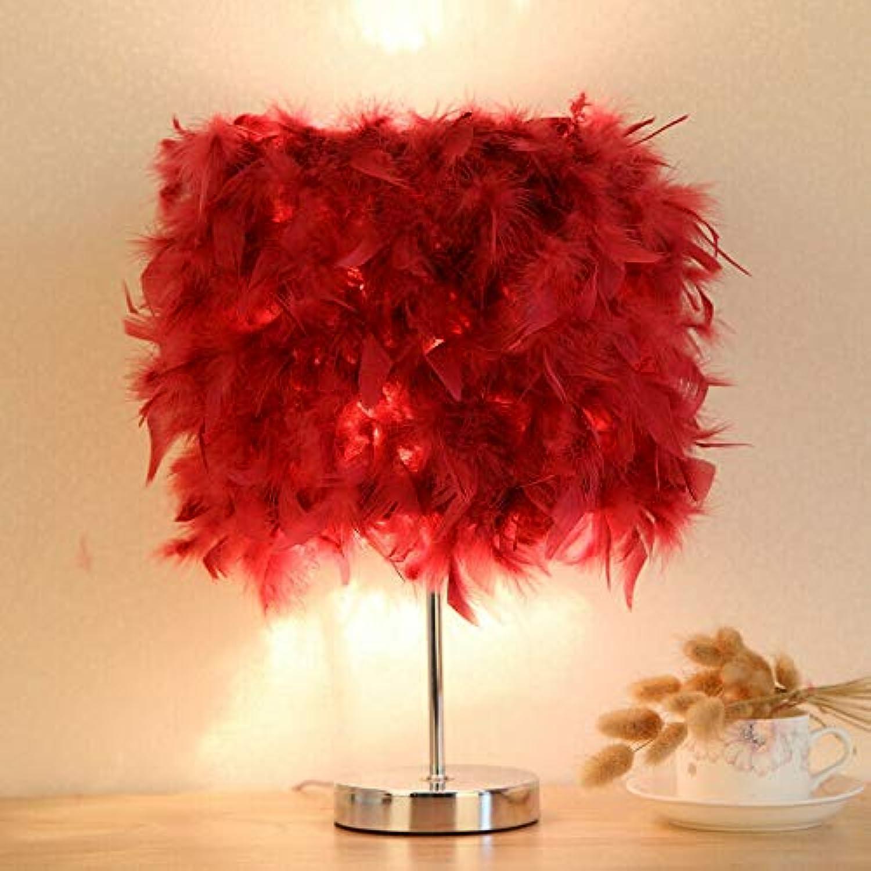 Romantische feder schatten tischlampe nachtleselicht hochzeitsgeschenke wohnkultur, weinrot, d28  h38cm