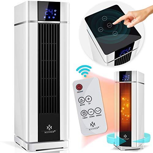KESSER® - Heizlüfter mit Fernbedienung - 2000W LCD Elektroheizung Heiztower 15-45°C energiesparend leise - Schnellheizer mit Oszillationsfunktion 2 x Heizstufen - Timer - Heizung Heater Badezimmer