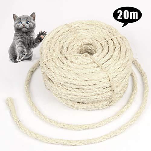 Bluelves Cuerda de Sisal Gatos, Sisal Cuerda para Reparar y Reemplazo de Gato Rascarse Pilar, Contiene Reparación Árbol, Balcón Barandilla, Jardineria y DIY. (6mm, 20m)