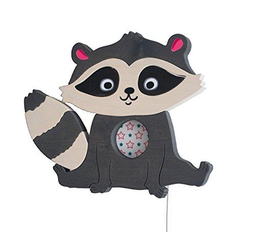Clevere Kids Kinder Wandlampe Alle Meine Tiere Holz Handarbeit A++ (Waschbär grau)