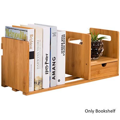 Bureau en bois massif avec étagère à tiroirs, tablette en bambou (Color : Natural)