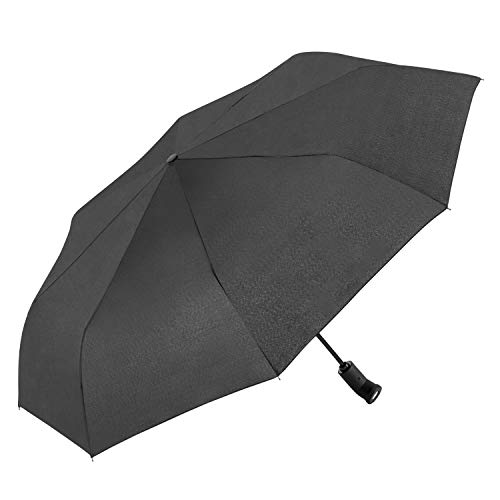 """The Torch 43"""" Auto Open and Close Compact Lightweight Windproof Rain Umbrella with 180-degree Flashlight Rotating Swivel Handle in Black"""