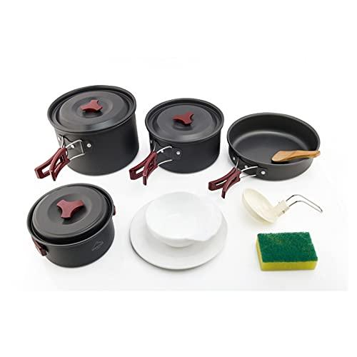 4-5 personas Camping Utensilios de cocina Vajilla Vajilla Outdoor Cocinar utensilios Picnic Set Mochila Bowl Pot Pan Cutlery Vajilla