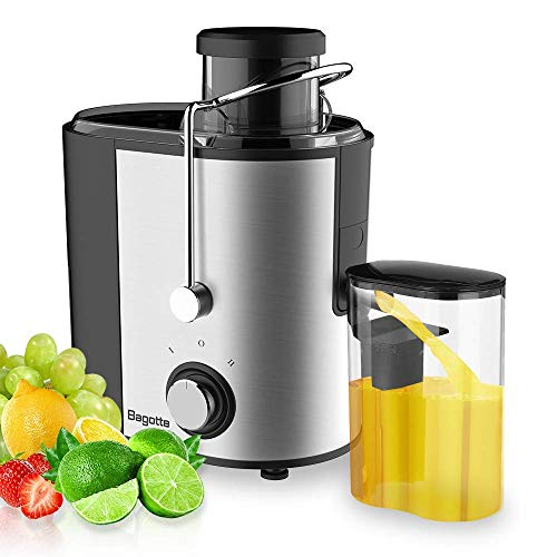 Bagotte Compact Juice Extractor Fruit and Vegetable Juice Machine Wide Mouth Centrifugal Juicer Easy Clean Juicer Stainless Steel DualSpeed 400w BPAFree