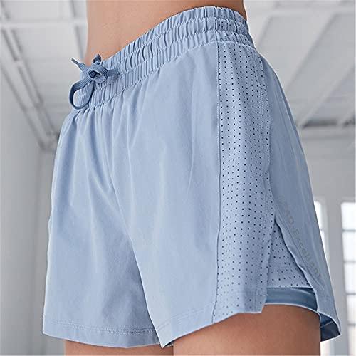 Pantalones cortos deportivos para mujer Mujeres corriendo pantalones cortos 2 en 1 gimnasio leggings deporte corriendo pantalones cortos Pantalones cortos de deportes respirables y de secado rápido.