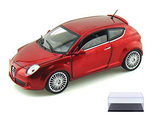 Alfa Romeo Diecast Car & Display Case Package Mito Hard Top, Metallic Red - Mondo Motors MO51046 - 1/24 Scale diecast Model car w/Display Case