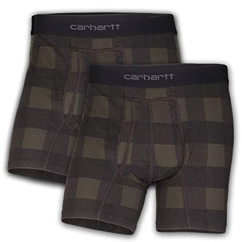 Carhartt Men#039s 5quot Inseam Cotton Polyester 2 Pack Boxer Brief Hubbard Plaid L