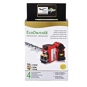 EcoDescalk Ecológico en Polvo, 4 Sobres. Descalcificador 100% Natural. Limpiador para Cafeteras. Todas Las Marcas. 4 Descalcificaciones. Producto CE.