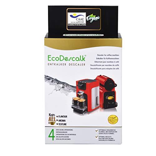 EcoDescalk Biologico in Polvere, 4 Sacchetti. Decalcificante 100% Naturale. Detergente per Macchine da caffè. Tutte Le Marche. 4 Decalcificazioni. Prodotto CE.