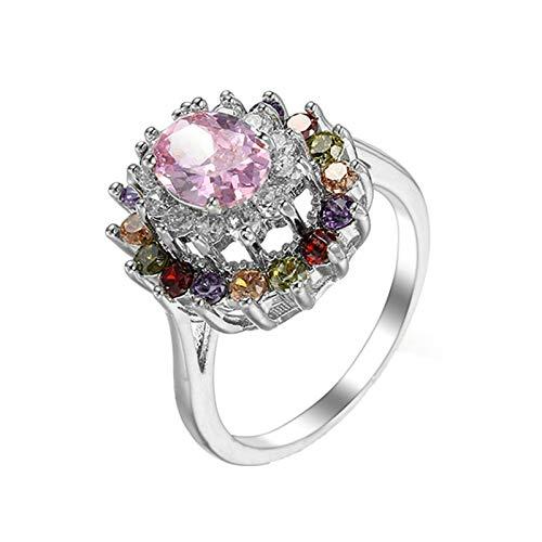 Beydodo Anillos de Compromiso Chapado en Plata Anillos Mujer Compromiso Rosa Flor Oval Cristal Circonita Rosa Talla 15
