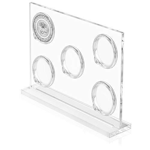 """PolymerRing Acryl Präsentationsbox für 5 x 10 Euro Münze mit Kapsel für """"In der Luft 2019, An Land 2020"""