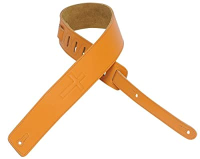 Golden Tan Leather Cross Guitar Strap