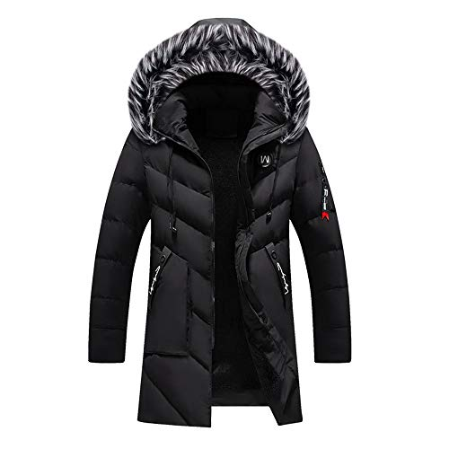 MODOQO Men's Winter Warm Long Down Parka Coat Trench Zipper Jacket Outwear Overcoat(Black,XL)