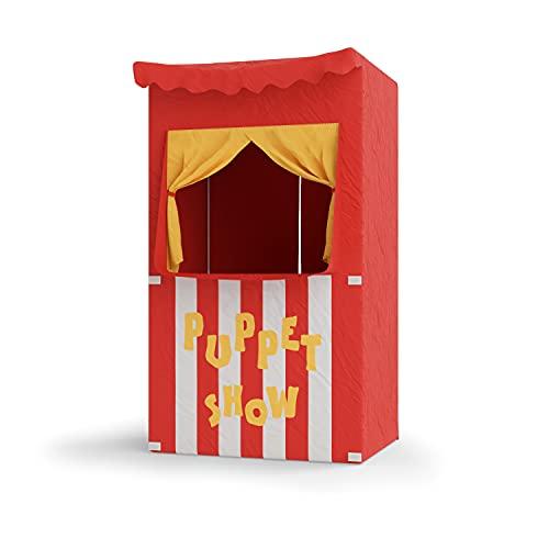 Bomodoro - Teatro dei burattini per bambini 120 x 70 x 50 cm, colore rosso convertibile in piccolo negozio