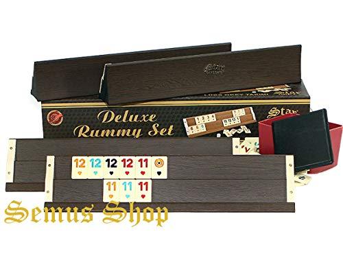 SEMUS Deluxe Holz Rummy / Okey mit Melamin Steine AHSAP Okey TAKIMI Kugelschreiber