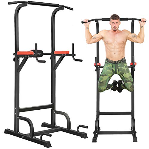 BangTong&Li Power Tower Workout Pull Up & Dip Station Adjustable Multi-Function Home Gym Fitness Equipment (Black+red)