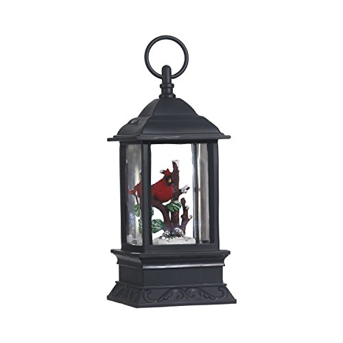 Lighted Snow Globe Lantern: 9.5 Inch, Black Holiday Water Lantern by RAZ Imports (Cardinal)