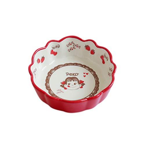 XiuXiu Salade bol bol de riz bol de fruits bol de nouilles céramique de style japonais ménage rouge 6 pouces - 14,5 x 5 cm, 7 pouces - 17,5 x 3 cm (Taille : 14.5X5CM)