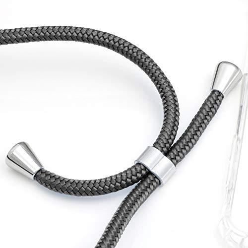 ZhinkArts Handykette kompatibel mit Huawei P20 Pro - Smartphone Necklace Hülle mit Band - Schnur mit Case zum umhängen in Dunkelgrau - 2