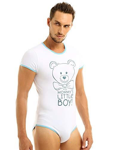 MSemis Camiseta Interior Body para Hombres Disfraz Bebé Adulto Mono Estampado Oso Cierre con Botones Ropa Interior Sissy Gay Jumpsuit Elástico Azul Large