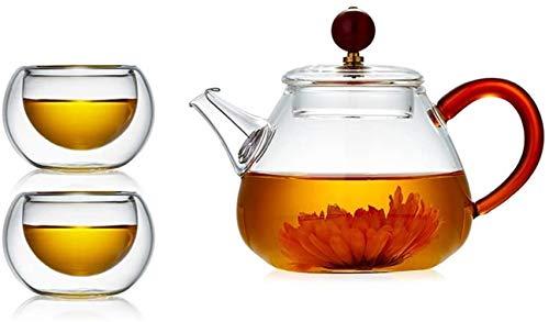 Tetera Tetera de calor de alta temperatura filtro resistente té de flor de cocinar Vajilla Hervidor Tetera de cristal fabricante Pequeño Kung Fu juego de té de 220 ml (Color: Pot 50ml + 1 Copa Cuatro)