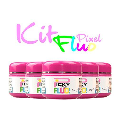 KIT 6 Gel color uv fluorescenti neon super fluo pixel gel glitter 5 ml ricostruzione unghie effetto brillantini nail art