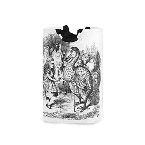 ZOMOY Pieghevole Tessuto Cesti per Portabiancheria,Alice nel Paese delle Meraviglie con Dodo Animal Adventures Big Bird Sketch Tema per Bambini,Scatole di Immagazzinaggio Organizzatore