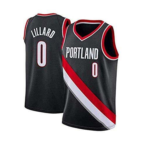 HANJIAJKL Junge Herren NBA Damian Lillard #0 Portland Trail Blazers Basketball T-Shirt,Sommer Stickerei Trikots, Basketballuniform Top,Black a,L