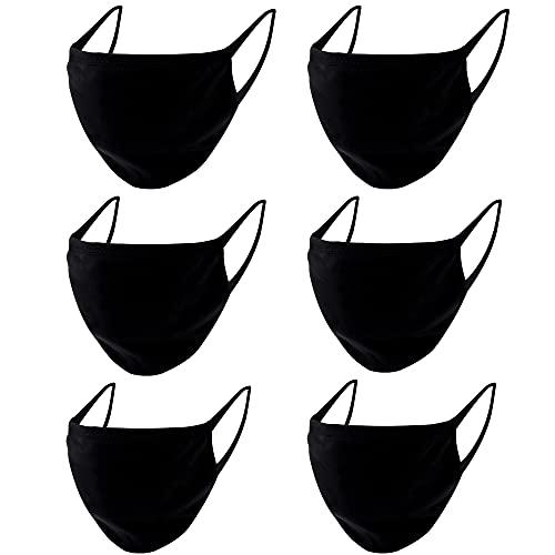Morningsilkwig Mascarillas Negras Hombres Mujeres Máscara 6 Piezas Mascarilla De Algodón Mascarilla Deportiva (negro)