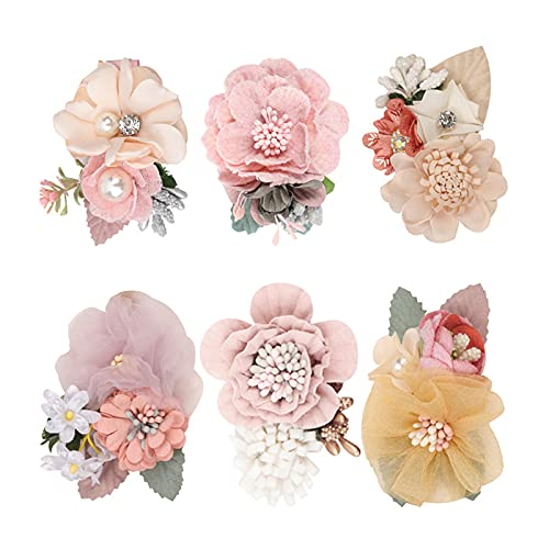 Yissone 6 Pinzas de Flores Set Accesorios para El Cabello Lazo Floral para Niñas Bebés Regalos para Niñas Adolescentes